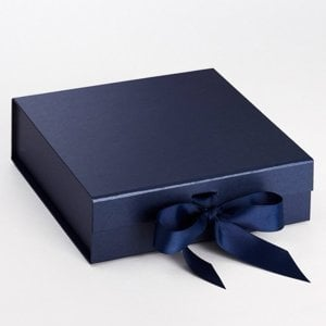 Memory box - Navy with navy grosgrain ribbon