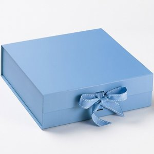 Memory box- Blue with blue grosgrain ribbon